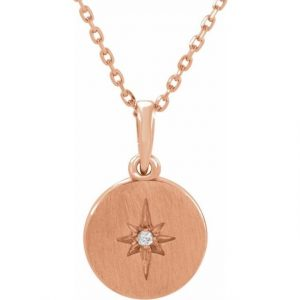 Rose Gold Accented Starburst Pendant Necklace With Diamond