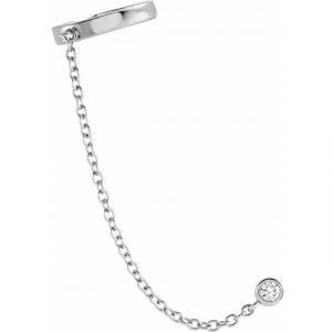 White Gold Diamond Cuff Chain Link Earring