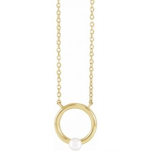 Yellow Gold Chain Necklace with Circle and Pearl