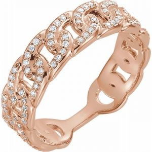 rose gold interlocking chain link fashion ring with diamonds