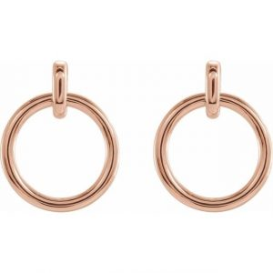 Rose Gold Dainty Dangling Hoop Earrings