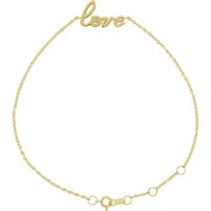 yellow gold love on your wrist dainty chain bracelet
