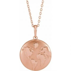 around the world rose gold world pendant