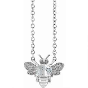 white gold bee pendant necklace with white sapphire