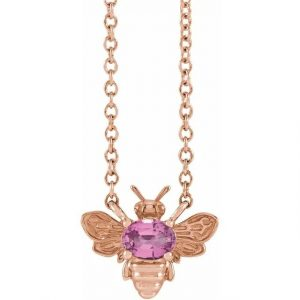 rose gold bee pendant necklace with pink sapphire