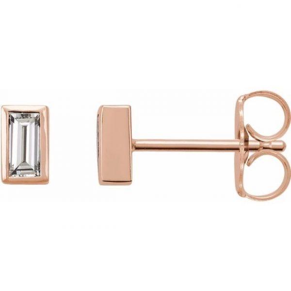 Rose Gold Baguette Diamond Pendant Stud Earrings Side View