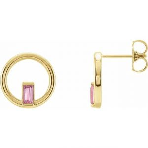 Yellow Gold Hoop Earring with Pink Tourmaline Side View