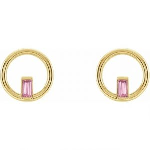 Yellow Gold Hoop Earring with Pink Tourmaline