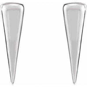 White Gold Talisman Triangle Stud Earrings