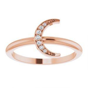Rose Gold Crescent Moon Ring with Diamonds