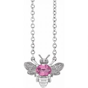 white gold bee pendant necklace with pink sapphire