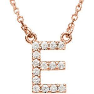 Rose Gold Diamond Initial Necklace Pendant