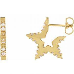 Yellow Gold Nova Star Diamond Hugging Hoops Side View