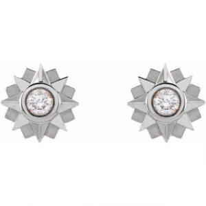 White Gold Sunburst Stud Earrings with Diamonds
