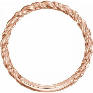 Rose Gold Rope Stacking Fashion Ring