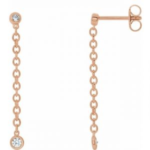 rose gold bezel set chain earrings with diamonds