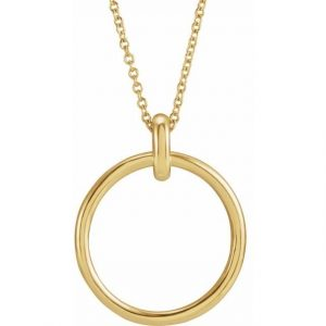 Yellow Gold Chain Necklace with Gold Hoop