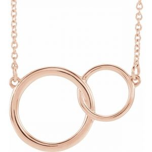 Rose Gold Interlocking Circles Chain Necklace