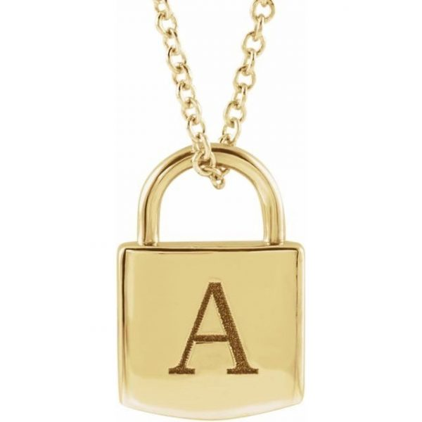 yellow gold engraved initial pendant lock necklace