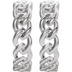 White Gold Chain Link Earrings Front View