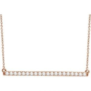 Rose Gold Chain Necklace with Diamond Bar