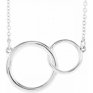 White Gold Interlocking Circles Chain Necklace