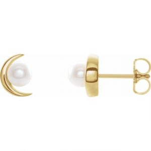 Side View Yellow Gold Crescent Moon Earrings with Pearls