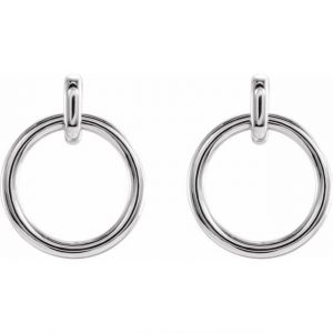 White Gold Dainty Dangling Hoop Earrings