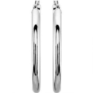 dainty white gold tube hoop earrings