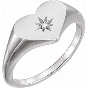 white gold heart signet ring with star stamp and diamond