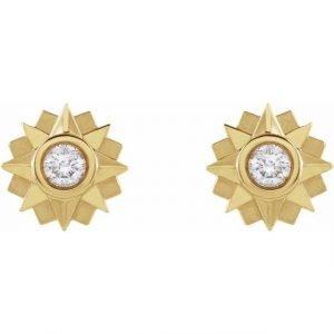 Yellow Gold Sunburst Stud Earrings with Diamonds