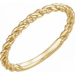 Yellow Gold Rope Stacking Fashion Ring
