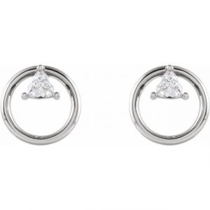white gold floating trillion earrings with diamonds