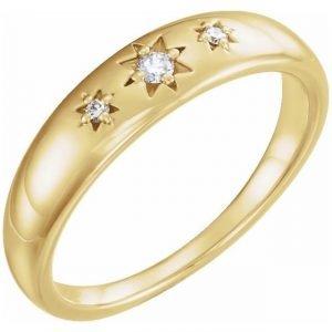 yellow gold fashion statement ring with starburst diamonds
