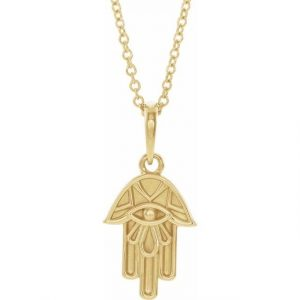 yellow gold hamsa pendant necklace with dainty chain