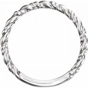 White Gold Rope Stacking Fashion Ring