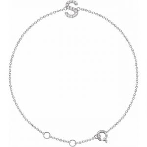 White Gold Dainty Diamond Initial Bracelet