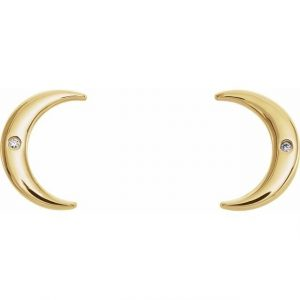 Dainty Yellow Gold Crescent Moon with Diamond Earring Pendants