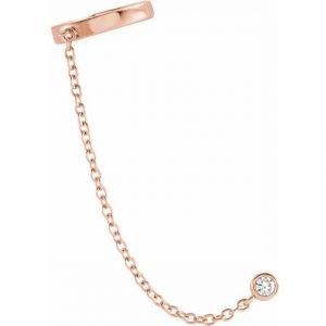 rose Gold Diamond Cuff Chain Link Earring