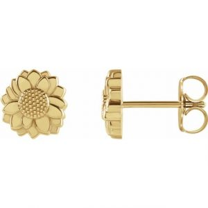 cute dainty yellow gold sunflower pendant earring studs