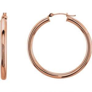 dainty rose gold tube hoop earrings
