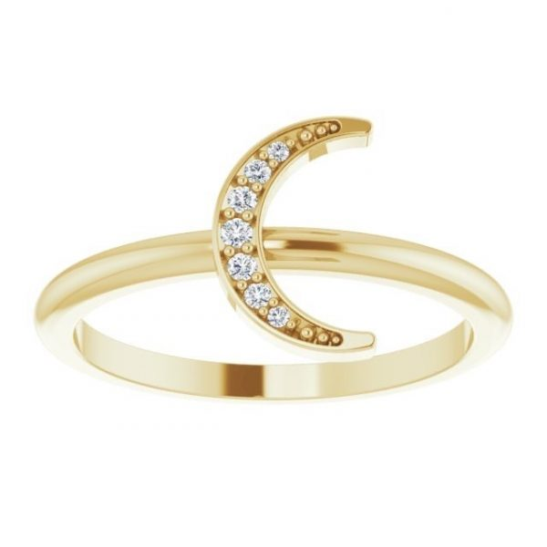 Yellow Gold Crescent Moon Ring with Diamonds