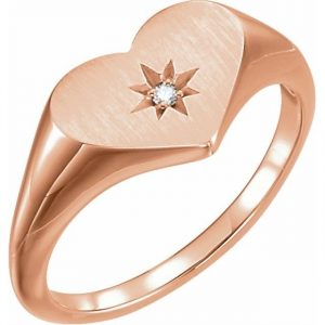 rose gold heart signet ring with star stamp and diamond