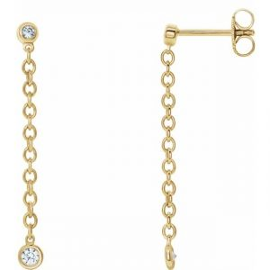 yellow gold bezel set chain earrings with diamonds