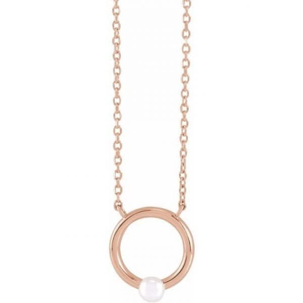 Rose Gold Chain Necklace with Circle and Pearl
