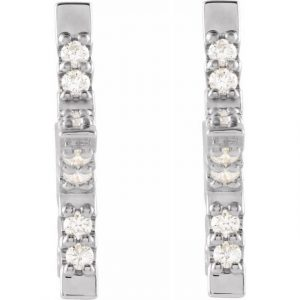 White Gold Nova Star Diamond Hugging Hoops