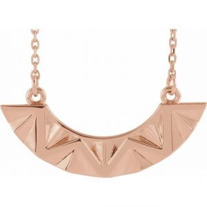 Rose Gold Undulate Pendant Geometric Necklace