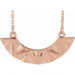 Rose Gold Undulate Pendant Geometric Necklace