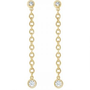 yellow gold bezel set chain earrings with diamonds