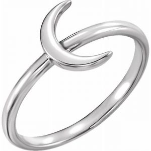 White Gold Crescent Moon Stacking Fashion Ring